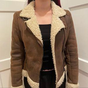 H&M brown faux fur/ faux leather jacket